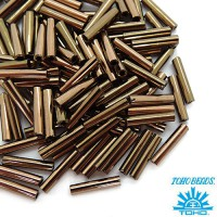 Стеклярус TOHO BUGLE 9 мм № 0221 бронза металлик 5 граммов Япония 060865 - 99 бусин