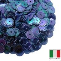 Пайетки 5 мм Италия рифленые плоские, цвет 0118 Blu Irise Trasparenti (Синий прозрачный ирис) 3 грамма 060878 - 99 бусин