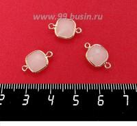 Коннектор Премиум Квадрат 15*9 мм ювелирное стекло, белый полупрозрачный/позолота 1 штука 060880 - 99 бусин
