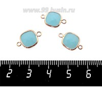 Коннектор Премиум Квадрат 15*9 мм ювелирное стекло, голубой полупрозрачный/позолота 1 штука 060881 - 99 бусин