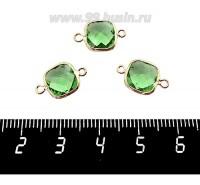 Коннектор Премиум Квадрат 15*9 мм ювелирное стекло, зеленый/позолота 1 штука 060882 - 99 бусин