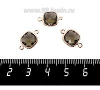 Коннектор Премиум Квадрат 15*9 мм ювелирное стекло, коричневый/позолота 1 штука 060887 - 99 бусин