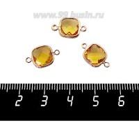 Коннектор Премиум Квадрат 15*9 мм ювелирное стекло, солнечный желтый/позолота 1 штука 060889 - 99 бусин