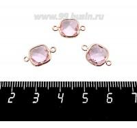 Коннектор Премиум Квадрат 15*9 мм ювелирное стекло, розовый/позолота 1 штука 060891 - 99 бусин