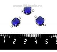 Коннектор Премиум Квадрат 15*9 мм ювелирное стекло, индиго/платина 1 штука 060912 - 99 бусин