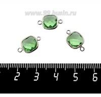 Коннектор Премиум Квадрат 15*9 мм ювелирное стекло, зеленый/платина 1 штука 060915 - 99 бусин