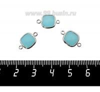 Коннектор Премиум Квадрат 15*9 мм ювелирное стекло, голубой полупрозрачный/платина 1 штука 060916 - 99 бусин