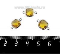 Коннектор Премиум Квадрат 15*9 мм ювелирное стекло, солнечный желтый/платина 1 штука 060917 - 99 бусин