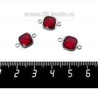 Коннектор Премиум Квадрат 15*9 мм ювелирное стекло, рубиновый/платина 1 штука 060919 - 99 бусин