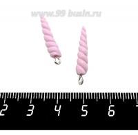 Декоративный элемент Рог Единорога, с петелькой, из полимерной глины, цвет розовый, размер около 25-27*4-5 мм, ручная работа, 1 штука 060983 - 99 бусин