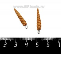 Декоративный элемент Рог Единорога, с петелькой, из полимерной глины, цвет золотистый, размер около 25-27*4-5 мм, ручная работа, 1 штука 060985 - 99 бусин