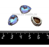 Стразы стеклянные пришивные в цапах капли 14*10 мм цвет экрю (greige) 1 штука 060998 - 99 бусин
