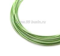 Канитель гладкая жесткая (жемчужная) 1 мм, цвет зеленый лайм пр-во Индия, упаковка 5 грамм 061005 - 99 бусин
