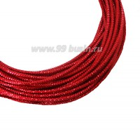 Канитель граненая 2,3 мм, цвет красный кармин, пр-во Индия, упаковка 5 граммов 061049 - 99 бусин