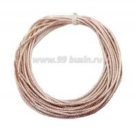 Канитель ОПТ граненая 2,3 мм, цвет розовое золото, пр-во Индия, упаковка 50 граммов 061059 - 99 бусин