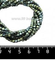 Натуральный камень ГЕМАТИТ с покрытием под ПИРИТ кубик 3*3 мм, цвет голубовато-зеленый мультиколор, 40 см/нить 061111 - 99 бусин