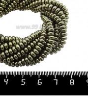Натуральный камень ГЕМАТИТ с покрытием под ПИРИТ рондель 4*2 мм, цвет античная бронза, 40 см/нить 061118 - 99 бусин