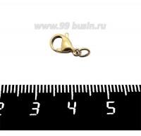 Карабин 12*6 мм с колечком нержавеющая сталь, покрытие оксид титана, цвет античное золото, 1 штука 061147 - 99 бусин