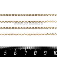 Цепочка 2*1,5 мм, нержавеющая сталь, покрытие оксид титана, цвет золотой, 1 метр/упаковка 061176 - 99 бусин