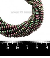 Натуральный камень ГЕМАТИТ с покрытием под ПИРИТ спейсер 4*2 мм, цвет розово-зеленый мультиколор, 40 см/нить 061194 - 99 бусин