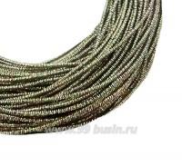 Канитель FANCY 1,5 мм гладкая упругая, цвет antic/rainbow (светлая медь/зелёный радужный) 5 граммов (около 1,7 метров) 061201 - 99 бусин