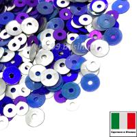 Микс пайеток МОДЕНА плоские 3 мм 556W, I00, 4 мм плоские I13, 5561 чаши 916W (белый, синий, фиолетовый) Италия 3 грамма 061223 - 99 бусин