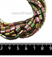 Натуральный камень ГЕМАТИТ с покрытием под ПИРИТ призма 6*4 мм, цвет розово-зеленый мультиколор, около 20 см/нить 061250 - 99 бусин