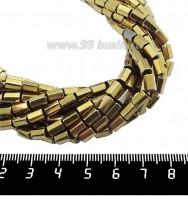 Натуральный камень ГЕМАТИТ с покрытием под ПИРИТ призма 6*4 мм, цвет античное золото, около 20 см/нить 061254 - 99 бусин