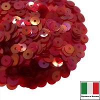 Пайетки Италия плоские 4 мм Rosso trasparente Iridato I08 (Красный прозрачный радужный) 3 грамма 061265 - 99 бусин