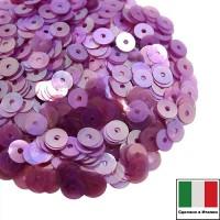 Пайетки Италия плоские 4 мм Porpora trasparente Iridato I04A (Лиловый прозрачный радужный) 3 грамма 061266 - 99 бусин