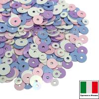 Микс пайеток КРЕМОНА плоские 3 мм I00 4 мм lilla, rosa, azzurro 5 мм bianco (белый, розовый, лиловый, голубой)  Италия 3 грамма 061268 - 99 бусин