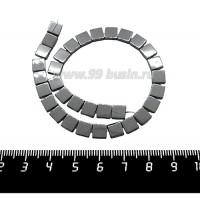 Натуральный камень ГЕМАТИТ бусина плоская Квадратик 6*6*2 мм, блестящий, цвет натуральный, около 20 см/нить 061272 - 99 бусин