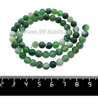 Натуральный камень АГАТ колорированный, бусина круглая 6 мм, зеленые тона около 37 см/нить 061291 - 99 бусин