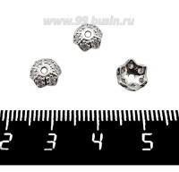 Шапочка для бусин Премиум Звездчатая с микроцирконами 7,5*2,5 мм, родий 2 штуки/упаковка 061327 - 99 бусин