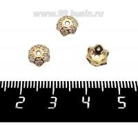 Шапочка для бусин Премиум Звездчатая с микроцирконами 7,5*2,5 мм, золото 2 штуки/упаковка 061328 - 99 бусин