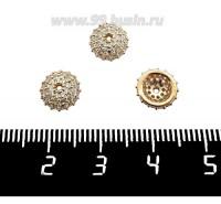 Шапочка для бусин Премиум Игольчатая с микроцирконами 8,5*3 мм, золото 1 штука 061329 - 99 бусин