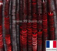Пайетки 4 мм Франция плоские на нити цвет 10006 red mat - красный сатин (Серия METALLIC MAT ASPECT) 1000 штук 061354 - 99 бусин