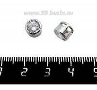 Бусина-разделитель-подвеска Премиум Кристаллик с цирконом, 7*5,5 мм, родированная 1 штука 061377 - 99 бусин