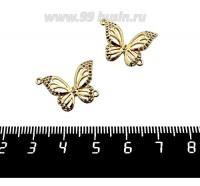 Коннектор Премиум Бабочка с цветными микроцирконами 16*22 мм, 2 петли наискосок, позолота 1 штука 061392 - 99 бусин