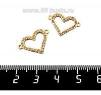 Коннектор Премиум Сердце с микроцирконами 13*19 мм, 2 петли, позолота 1 штука 061393 - 99 бусин