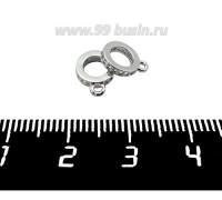 Бейл Премиум Кольцо с цирконами 9,5*7,5 мм, внутреннее отверстие - 4,5 мм, родированный 1 штука 061394 - 99 бусин
