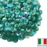 Пайетки 4 мм Италия чаша, цвет Turchese trasparente Iridato I15 (Бирюзовый прозрачный радужный) 3 грамма 061396 - 99 бусин
