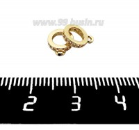Бейл Премиум Кольцо с цирконами 9,5*7,5 мм, внутреннее отверстие - 4,5 мм, позолота 1 штука 061401 - 99 бусин
