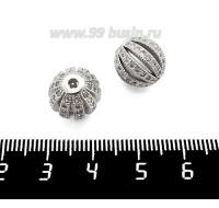 Бусина Премиум Фонарик 12 мм с микроцирконами, родированный 1 штука 061403 - 99 бусин