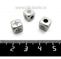 """Бусина Премиум Кубик """"Звёздочки"""" 8*8 мм с микроцирконами, родированная 1 штука 061405 - 99 бусин"""