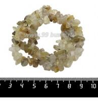 Натуральный камень КВАРЦ ВОЛОСАТИК, крошка 6*6*4 - 11*7*5 мм, бледно-желтые с темными вкраплениями тона, 42 см/нить 061446 - 99 бусин