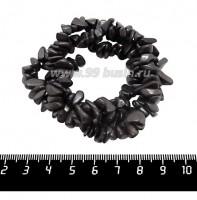 Натуральный камень ГЕМАТИТ крошка 5*4*3 - 10*5*4 мм, теплые серые металлические тона, 45 см/нить 061454 - 99 бусин