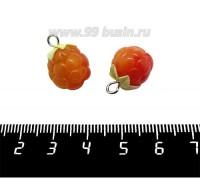 Декоративный элемент Морошка с петелькой, из полимерной глины, цвет зеленый/оранжевый, размер около 15-18*11-13 мм, ручная работа, 1 штука 061456 - 99 бусин