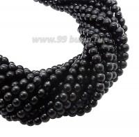 Бусина стеклянная жемчуг на нити 4 мм цвет черный Чехия 60 штук 061469 - 99 бусин