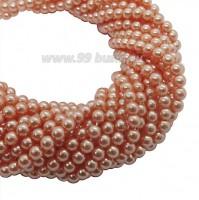 Бусина стеклянная жемчуг на нити 4 мм цвет насыщенный персиковый Чехия 60 штук 061486 - 99 бусин